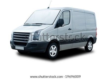 Silver Delivery Van with clipping path