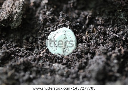 Silver denarius in the ground #1439279783