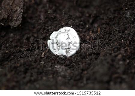 Silver denarius in the ground #1515735512