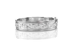 silver diamond bangle bracelet isolated on white