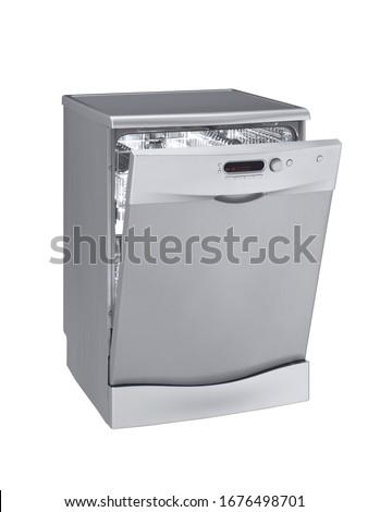 silver dishwasher open door, kitchen appliance
