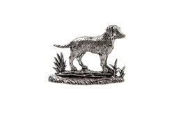 silver dog statuette isolate on white background