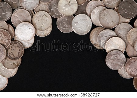 Silver dollar background with copy space