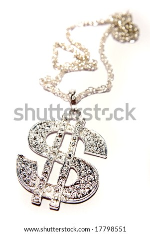 Silver dollar-symbol necklace