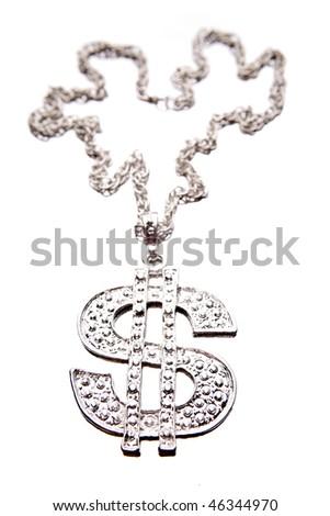 Silver dollar-symbol necklace