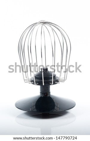 silver egg-beater on white background