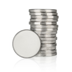 Silver empty coin and stack isolated on white background