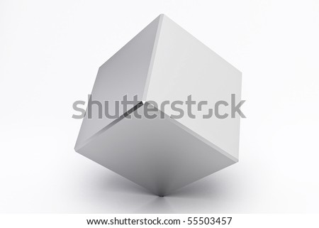 Silver empty cube reflected, on white background