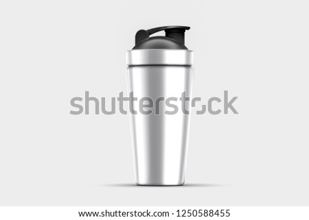 Silver empty glossy metal Shaker for sports nutrition closeup isolated on soft gray background. Design template of packaging mock-up for graphics. Front view.High resolution photo. #1250588455