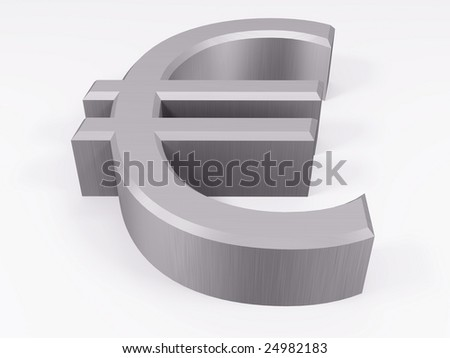 Silver euro symbol isolated on white 3d render
