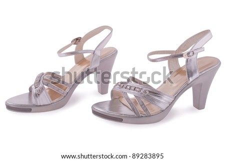 Silver female shoes isolated on white background