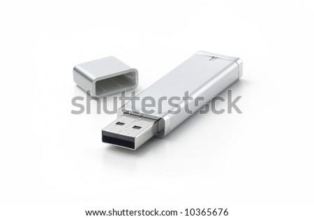 silver flash drive on white