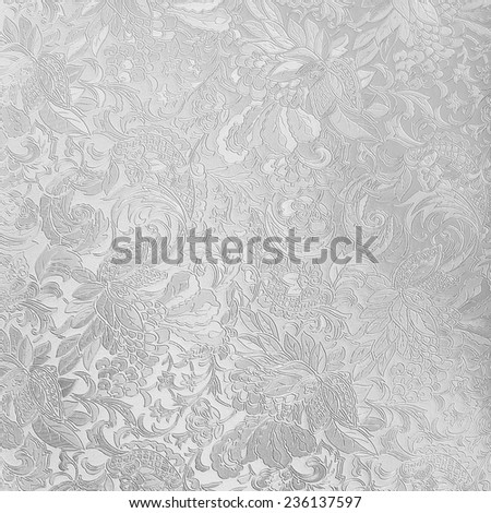 Silver floral ornament brocade textile pattern