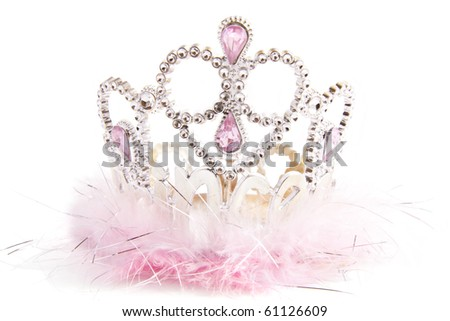 Silver fluffy crown with pink jewels isolated over white