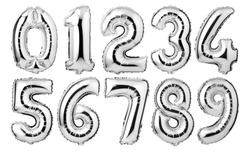 Silver foil number balloons isolated on white background