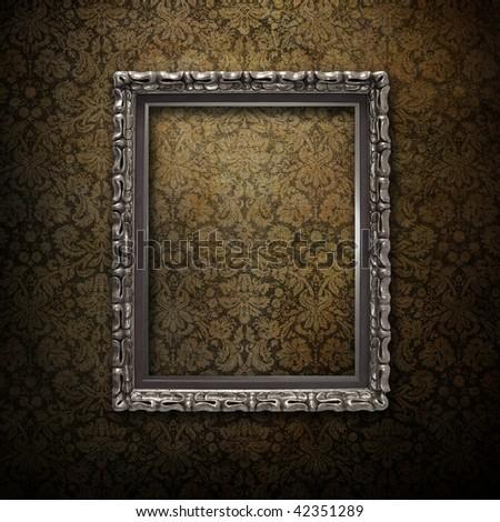 silver frame over grunge wallpaper