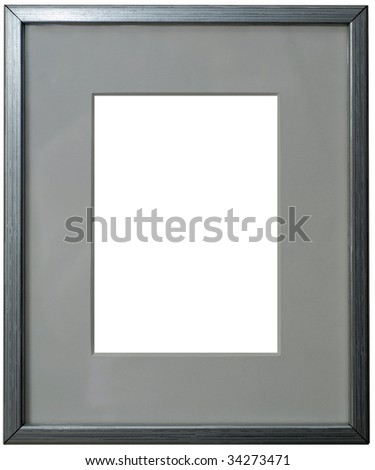 Silver frame with passepartout isolated on white background. Clipping path included