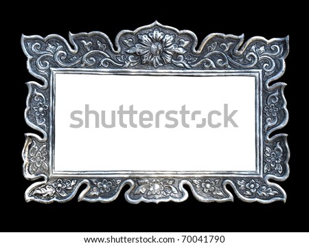 Silver frames in a Thai temple. Metal relief work pattern, Wat Muen Saen Chiang Mai Thailand