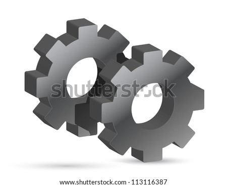 Silver gears illustration design over white background