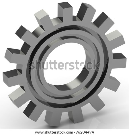 Silver Gears on white background