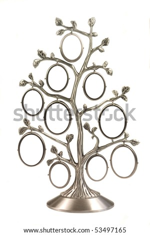 Silver genealogical family tree with small oval frames isolated on a white background