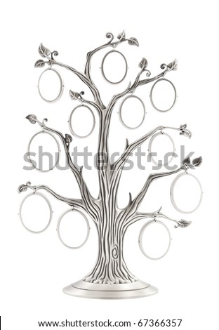 Silver genealogical family tree with small oval frames over white