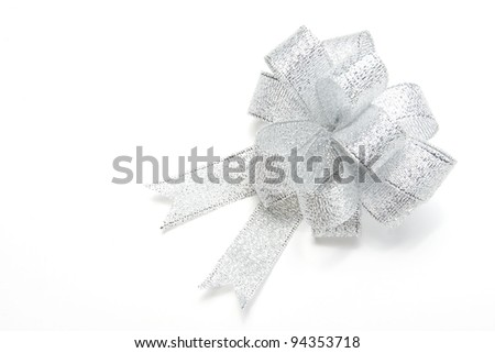 silver gift bow on white background