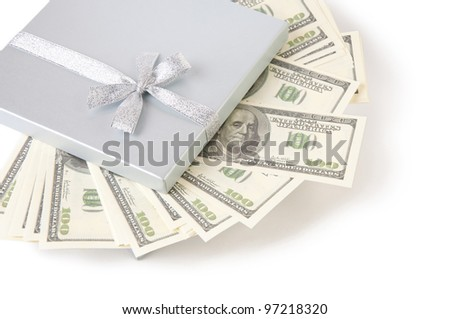 Silver gift box full of dollar bills, isolated on white