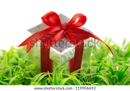 Silver gift box on green grass background