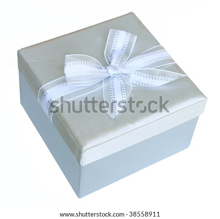Silver gift box with bow