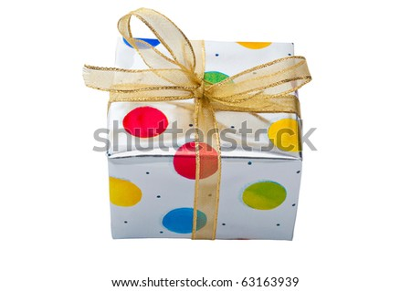 Silver gift box with colored dots and gold ribbon isolated on white