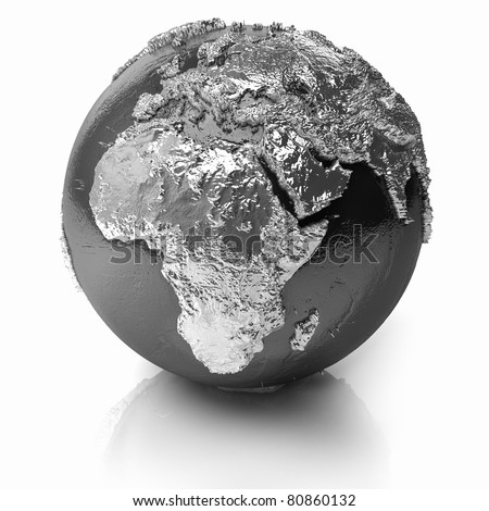 Silver globe - metal earth with realistic topography - africa, 3d render