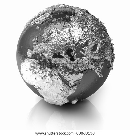 Silver globe - metal earth with realistic topography - europe, 3d render