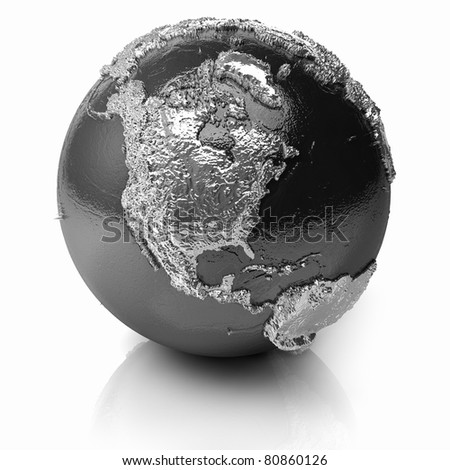 Silver globe - metal earth with realistic topography - north america, 3d render