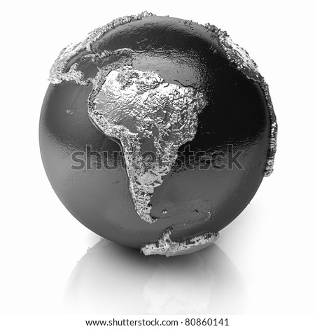 Silver globe - metal earth with realistic topography - south america; 3d render