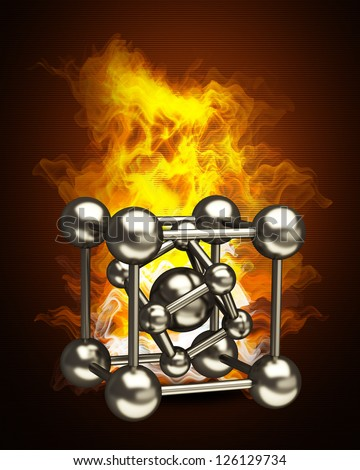 silver glossy molecules structure in Fire. High resolution. 3D image