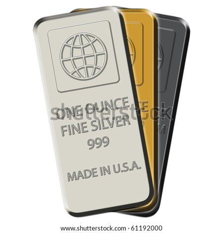 Silver, gold and platinum bars 3-pack on white canvas