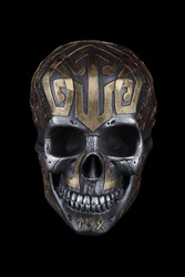 Silver Gold Viking Skull Sculpture (isolated)