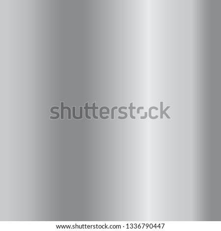 Silver gradient background. Silver design texture for ribbon, frame, banner. Abstract silver gradient template. Metal shine steel plate. Metallic light chrome pattern illustration