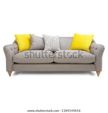 Silver Gray Mid Back Linen Sofa Isolated on White. Front View of Two Seater Couch with Two Accent Scatter Pillows and Yellow Large Bolster Cushions. Upholstered Loveseat with Armrests and Seat Cushion - Shutterstock ID 1184144656