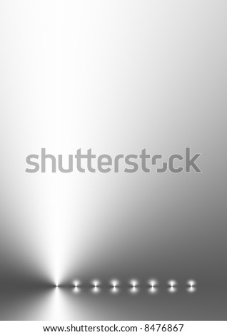 Silver grey gradient abstract with eight points of light in a horizontal line.