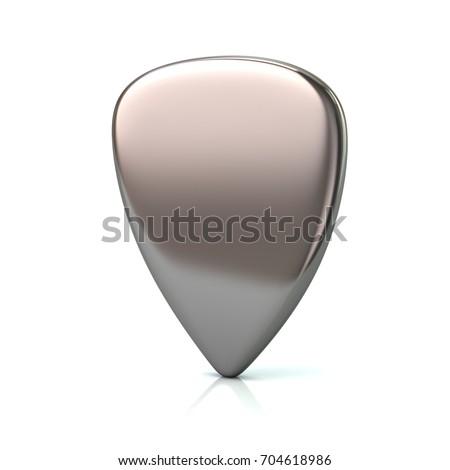 Silver guitar pick 3d illustration on white background