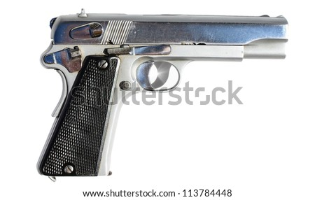 Silver gun isolated on white