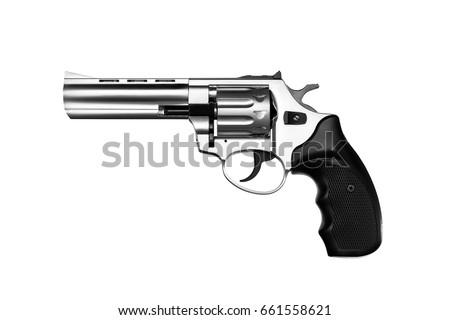 Stock Photo Silver gun pistol isolated on white background