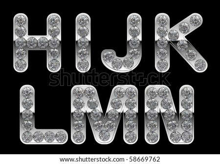 Silver H, I, J, K, L, M, N, letters incrusted with diamonds. Other characters are in my portfolio