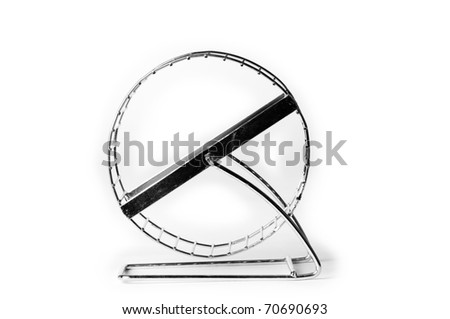 Silver hamster wheel on white background