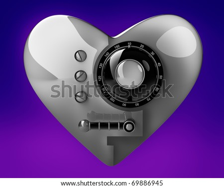 Silver heart safe isolated on blue background. 3D render