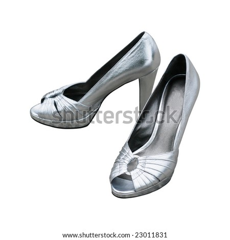 silver high heels isolated on white background