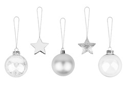 Silver Сhristmas tree decorations set white background isolated closeup, glass balls & metal stars hanging on thread collection, shiny baubles, traditional new year holiday design element, xmas toys