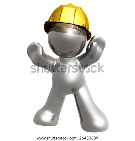 Silver icon guys with under construction helmet